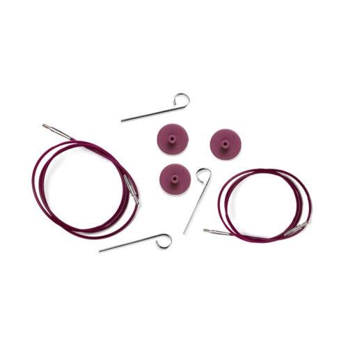 KnitPro Interchangeable Cables Purple Silver